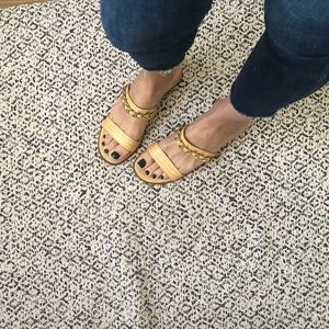 CHANEL Slides Nude Chain Flat Sandals Shoes 39
